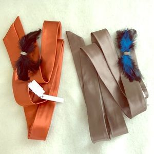 J. Crew silk sash belts feathers jewel xs s m l xl